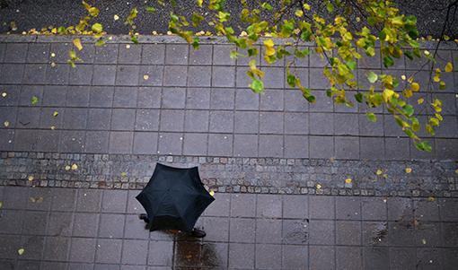 Höstrusk höstmörker paraply