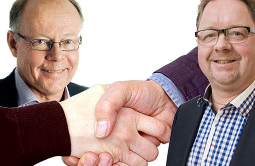 Sekos förbundsordförande Janne Rudén och Fastighets förbundsordförande Magnus Pettersson. (Bilden är ett montage.)