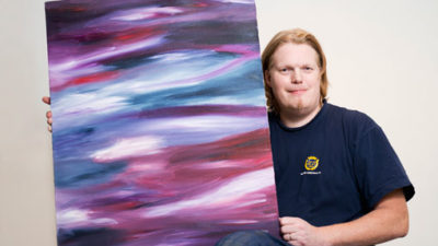 Se den här tavlan, av Magnus Larsson, och många andra konstverk på Runös vintersalong.